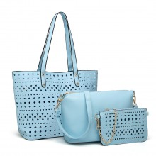 E1829-Miss Lulu Laser Cut 3pcs Handbag Set with Bunny Keyring Blue